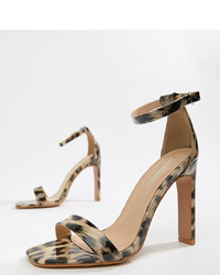 079fd5f56083 Brown Leopard Leather Heeled Sandals for Women | Women's Fashion ...