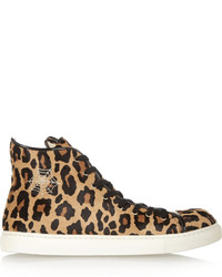 Purrrfect leopard print calf hair high top sneakers medium 320891