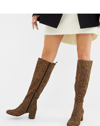 Monki Knee High Heeled Boot In Leopard Print
