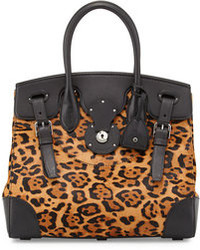 Ralph Lauren Soft Ricky 33 Leopard Print Calf Hair Satchel Bag Brown