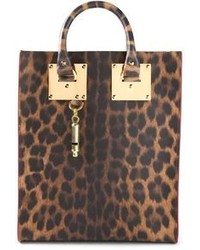 Brown Leopard Leather Tote Bag