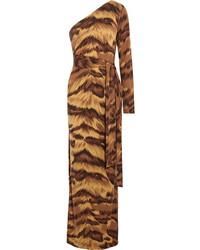Diane von Furstenberg Coco One Shoulder Animal Print Silk Jersey Maxi Dress
