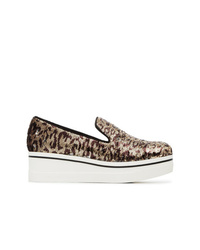 Stella McCartney Gold Metallic And Brown Binx 55 Sequin Flatform Sneakers