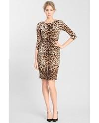 Dolce & Gabbana Dolcegabbana Leopard Print Stretch Silk Dress