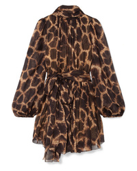 Dolce & Gabbana Pussy Bow Animal Print Silk Chiffon Mini Dress