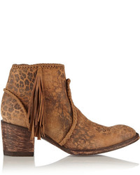 Mexicana adela leopard print washed suede ankle boots medium 136813