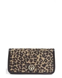 Brown Leopard Suede Clutch