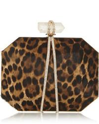Marchesa Iris Leopard Print Calf Hair Box Clutch