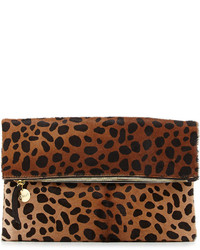 Leopard print fold over clutch bag medium 114168