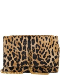 Brown Leopard Suede Crossbody Bag