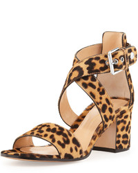 Brown Leopard Suede Heeled Sandals