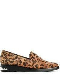 Brown Leopard Suede Loafers