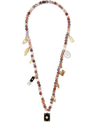 Carolina Bucci Recharmed Cosi 18 Karat Gold Multi Stone Necklace Taupe