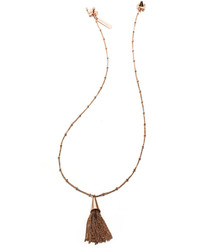 Small rose gold plated chain tassel pendant necklace medium 227202