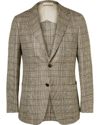 Dunhill Brown Houndstooth Checked Silk Linen And Wool Blend Blazer