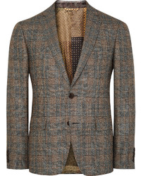 Etro Brown Slim Fit Checked Silk And Wool Blend Blazer