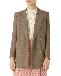 Brown Plaid Double Breasted Blazer