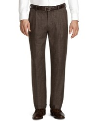 Brown Plaid Dress Pants
