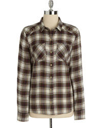 Brown Plaid Dress Shirt