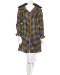 Brown Plaid Fur Collar Coat