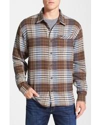 Jack caravan long sleeve plaid herringbone knit shirt medium 94646