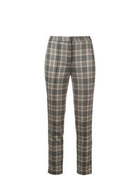 Brown Plaid Skinny Pants