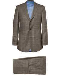 Lutwyche brown prince of wales check wool three piece suit medium 193239