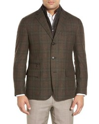 Classic fit plaid wool cashmere sport coat with removable liner medium 603544