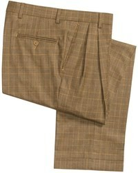 Brown Plaid Wool Dress Pants