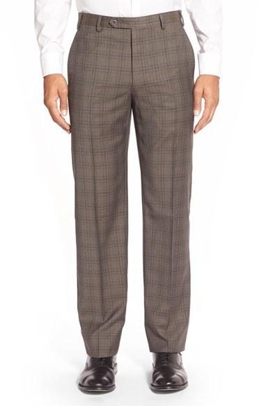 Zanella Devon Flat Front Plaid Wool Trousers