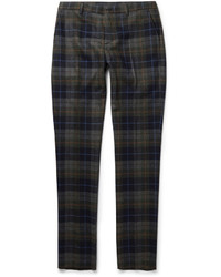 Etro Slim Fit Checked Wool Blend Trousers