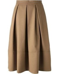 Brown Pleated Midi Skirt