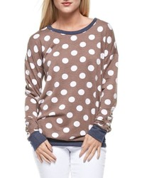 Brown Polka Dot Crew-neck Sweater