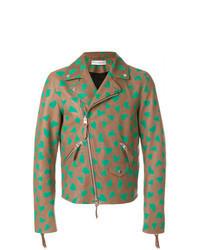 Brown Print Biker Jacket
