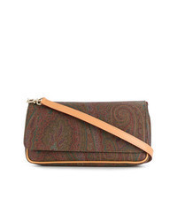Brown Print Canvas Crossbody Bag
