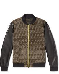 Fendi Slim Fit Paneled Logo Jacquard And Leather Bomber Jacket