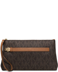 Brown Print Leather Clutch