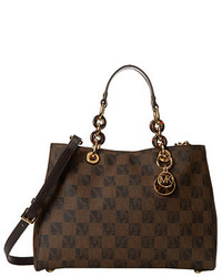 Brown Print Leather Satchel Bag