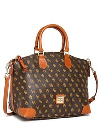 Dooney & Bourke Logo Print Leather Satchel