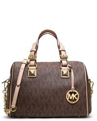 Brown Print Satchel Bag