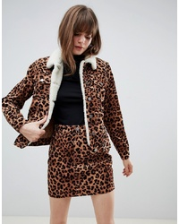 ASOS DESIGN Cord Jacket In Leopard With Borg Collar