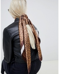 ASOS DESIGN Large Square Polysatin Headscarfneckscarf In Monogram