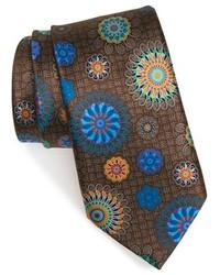 Brown Print Silk Tie