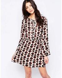 Brown Print Skater Dress