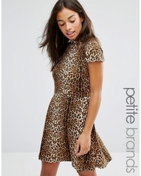 Glamorous Petite Allover Leopard High Neck Skater Dress