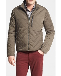 Brown Quilted Bomber Jacket