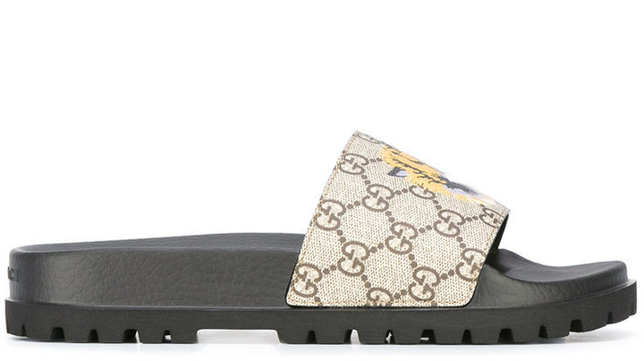 9f5c98156a32c2 ... Sandals Gucci Gg Supreme Tiger Pool Slides
