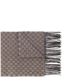Gucci Gg Embroidered Fringed Scarf