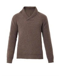 Brown Shawl-Neck Sweater