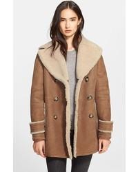 Brit drakefield double breasted genuine shearling coat medium 121927